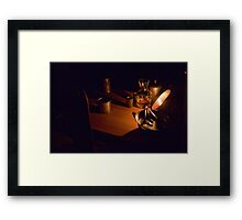 A old table in the Napoleon military camp Framed Print