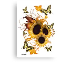 SunFlowers and Butterflies Canvas Print