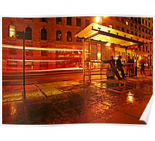 Central London Rainy Night - bus stop Poster