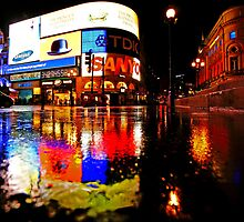London Rain Color - Piccadilly Circus at Night by DavidGutierrez