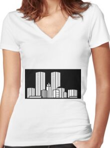 Skyscraper Women's Fitted V-Neck T-Shirt