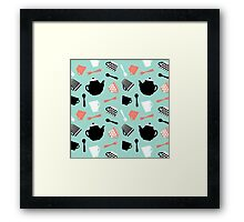 strawberry mint tea time pattern Framed Print