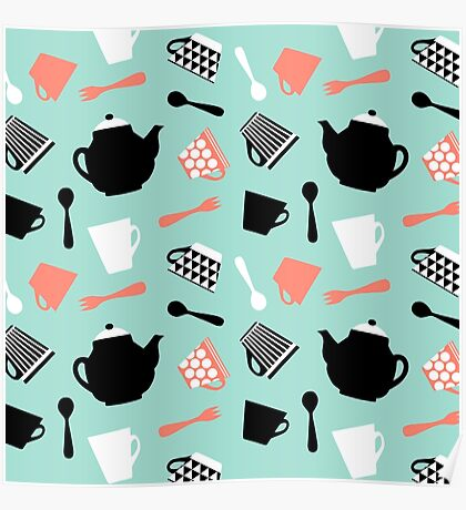 strawberry mint tea time pattern Poster