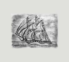 Pencil Drawing (enhanced) of a Clipper Ship based on the Cutty Sark T-Shirt