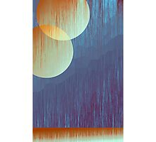 Two Moons and Mountain Abstract Art - Yellow and Blue Photographic Print