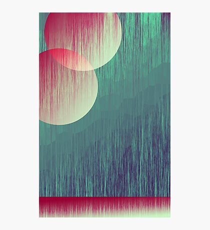 Two Moons and Mountain Abstract Art Photographic Print