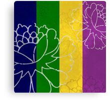 Chinese Flowers & Stripes - Purple Yellow Green Blue Canvas Print