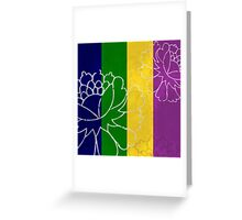 Chinese Flowers & Stripes - Purple Yellow Green Blue Greeting Card