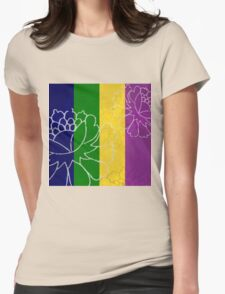 Chinese Flowers & Stripes - Purple Yellow Green Blue Womens Fitted T-Shirt