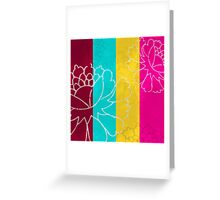 Chinese Flowers & Stripes - Pink Yellow Cyan Red Greeting Card