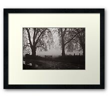 door in the fog Framed Print
