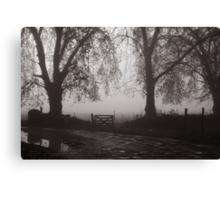 door in the fog Canvas Print