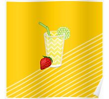 Cute Strawberry Limeade Juicy Drink Poster