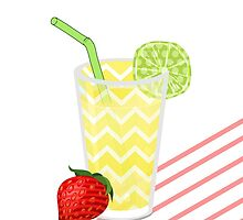 Cute Strawberry Limeade Juicy Drink & Stripes by Blkstrawberry