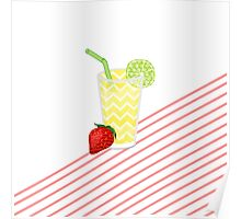 Cute Strawberry Limeade Juicy Drink & Stripes Poster