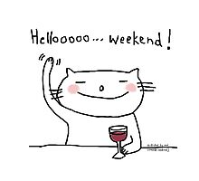 Hello weekend ! / Cat doodle Photographic Print