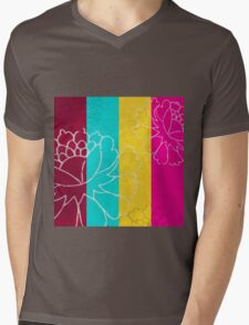 Chinese Flowers & Stripes - Pink Yellow Cyan Red Mens V-Neck T-Shirt