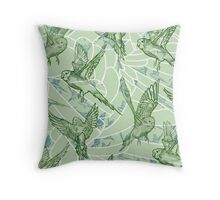 Budgie Pattern Throw Pillow