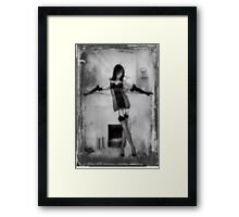 A fireside pose with textures Framed Print