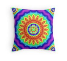 Rainbow Blossom Mandala Throw Pillow