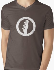 Telecaster Headstock, White Mens V-Neck T-Shirt