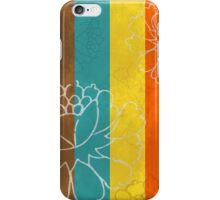 Chinese Flowers & Stripes - Orange Yellow Turquoise Brown iPhone Case/Skin