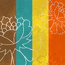 Chinese Flowers & Stripes - Orange Yellow Turquoise Brown by Katayoonphotos