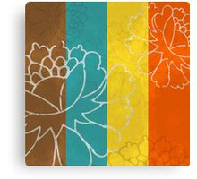 Chinese Flowers & Stripes - Orange Yellow Turquoise Brown Canvas Print