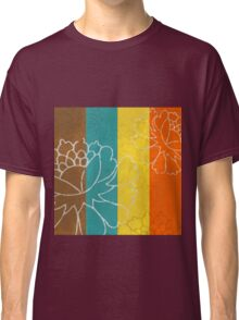Chinese Flowers & Stripes - Orange Yellow Turquoise Brown Classic T-Shirt