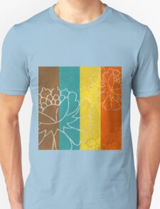 Chinese Flowers & Stripes - Orange Yellow Turquoise Brown T-Shirt