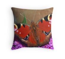 Visiting  Peacock Throw Pillow