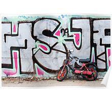Moped & Graffiti in Berlin (Colour) Poster