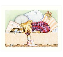 Pit Bull In Pajamas Art Print