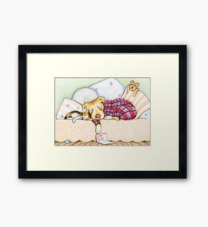 Pit Bull In Pajamas Framed Print