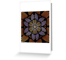 Graphic patterns flower in orange, yellow and purple Greeting Card