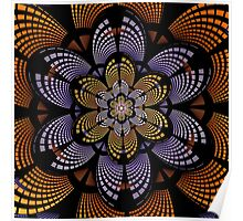 Graphic patterns flower in orange, yellow and purple Poster