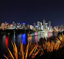 Brisbane River & City At Night. Queensland, Australia. by Ralph de Zilva