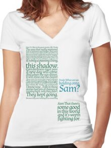 The Two Towers-- Sam's Speech Women's Fitted V-Neck T-Shirt