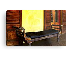 Old Leather Recliner Metal Print