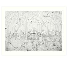 skeletons picnic Art Print