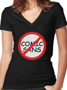 Boycott / Just Say No To Comic Sans Women's Fitted V-Neck T-Shirt