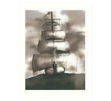 Sailing in the storm Art Print