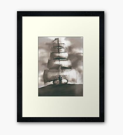 Sailing in the storm Framed Print