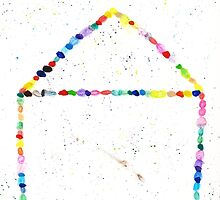 Whimsical Watercolor Rainbow Dotted House by MeghanLeVaughn