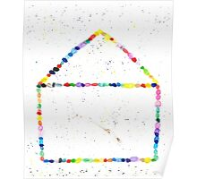 Whimsical Watercolor Rainbow Dotted House Poster