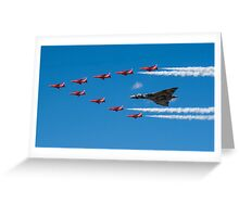 Avro Vulcan and Red Arrows Greeting Card