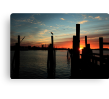 morning silhouettes Canvas Print