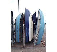 Blue boats at Brixham quay Photographic Print