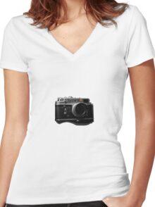 zorki 4 red dot Women's Fitted V-Neck T-Shirt