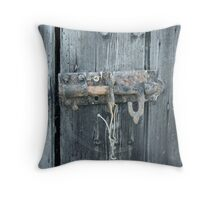 Rusty worn out lock Throw Pillow